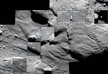 The last moments of Philae's descent, the imprint of its touchdown, and subsequent drift away from Agilkia was captured by Rosetta's OSIRIS camera. All times in UT onboard spacecraft time. Credit: ESA/Rosetta/MPS for OSIRIS Team MPS/UPD/LAM/IAA/SSO/INTA/UPM/DASP/IDA
