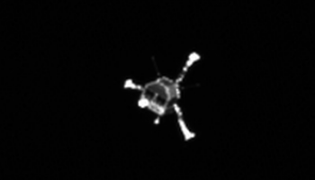 This image from Rosetta's OSIRIS narrow-angle camera shows the Philae lander at 10:23 GMT (onboard spacecraft time) on 12 November, almost two hours after separation. Credits: ESA/Rosetta/MPS for OSIRIS Team MPS/UPD/LAM/IAA/SSO/INTA/UPM/DASP/IDA