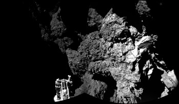 Philae's view of the cliffs at Abydos – one of the lander's three feet can be seen in the foreground. Credits: ESA/Rosetta/Philae/CIVA