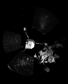 360º view around the point of Philae's final touchdown. The three feet of Philae's landing gear can be seen in some of the frames. Superimposed on top of the image is a sketch of the Philae lander in the configuration the lander team believed it was in November 2014. Credits: ESA/Rosetta/Philae/CIVA