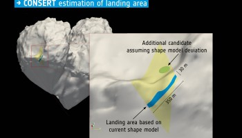 Philae's final landing site, estimated by CONSERT. Graphics courtesy W. Kofman/CONSERT team