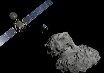 Artist impression of Rosetta and Philae at Comet 67P/C-G (not to scale). Credits: ESA/ATG medialab; Comet image: ESA/Rosetta/Navcam