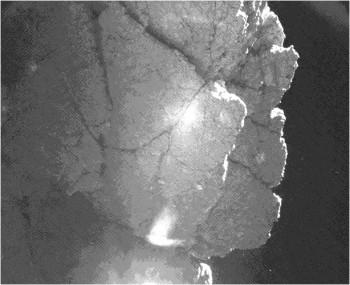 """A processed view of """"Perihelion Cliff"""" at Philae's final landing site. Credits: ESA/Rosetta/Philae/CIVA"""
