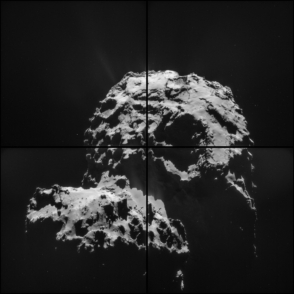 Four image NAVCAM montage comprising images taken on 30 November 2014. Credits: ESA/Rosetta/NAVCAM – CC BY-SA IGO 3.0