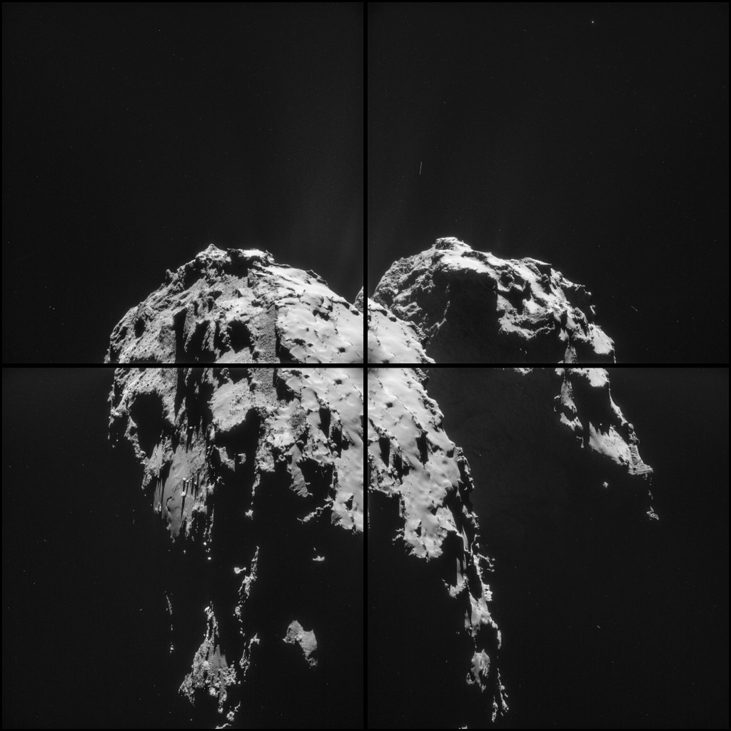 Four image NAVCAM montage comprising images taken on 1 December 2014. Credits: ESA/Rosetta/NAVCAM – CC BY-SA IGO 3.0