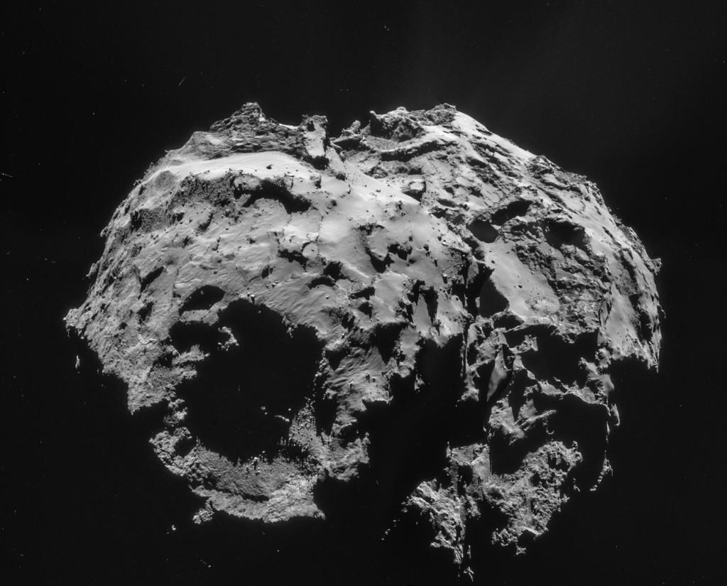 Four image NAVCAM mosaic comprising images taken on 2 December 2014.  Credits: ESA/Rosetta/NAVCAM – CC BY-SA IGO 3.0