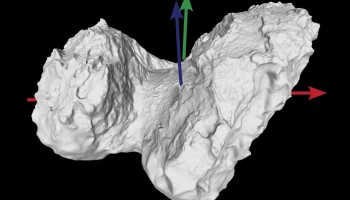 The blue arrow indicates Comet 67P/Churyumov–Gerasimenko's rotation axis, and the red and green arrows display its equatorial x- and y-axes, respectively.  Credits: ESA/Rosetta/MPS for OSIRIS Team MPS/UPD/LAM/IAA/SSO/INTA/UPM/DASP/IDA