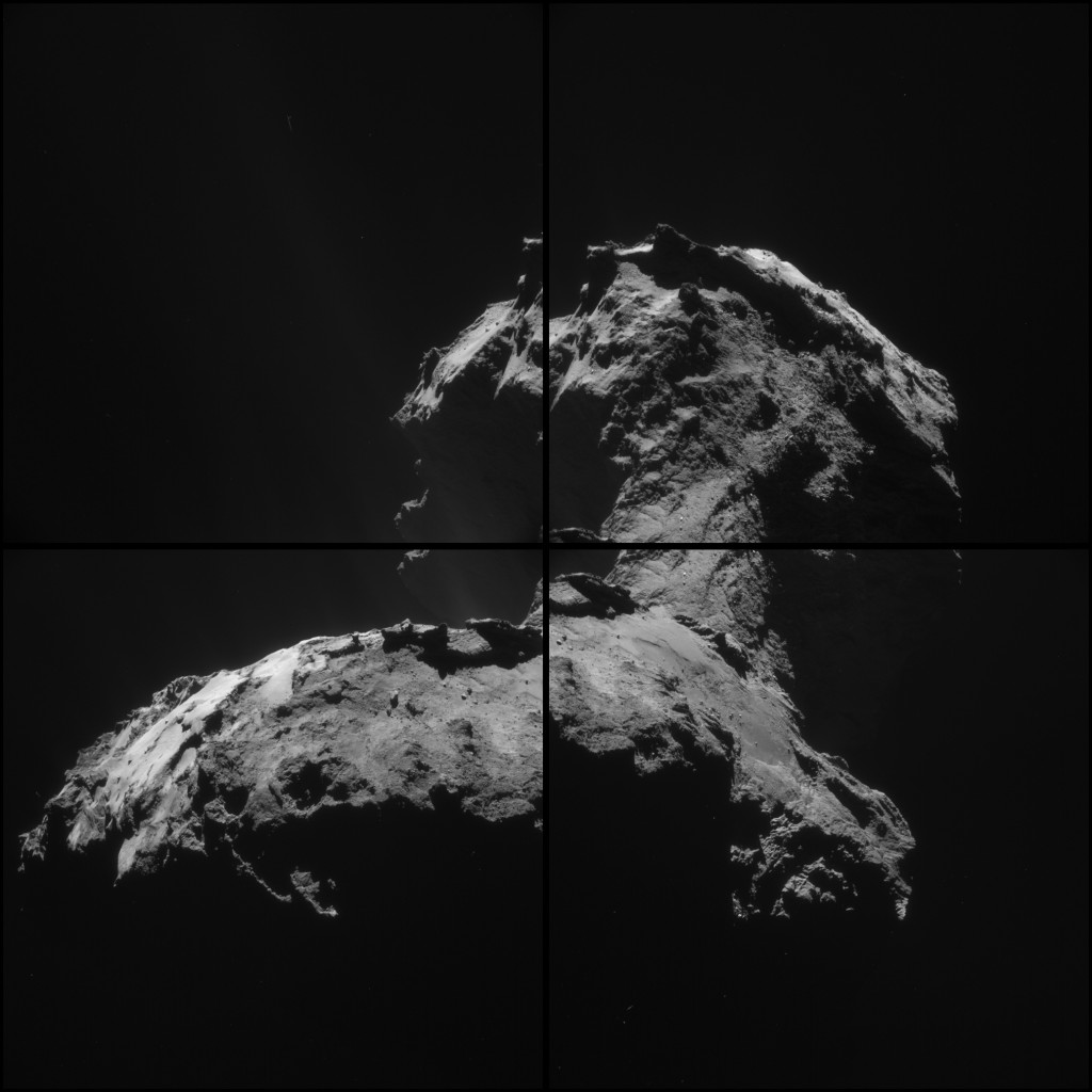 Montage of four NAVCAM images taken of Comet 67P/Churyumov-Gerasimenko on 6 January 2015. Credits: ESA/Rosetta/NAVCAM – CC BY-SA IGO 3.0