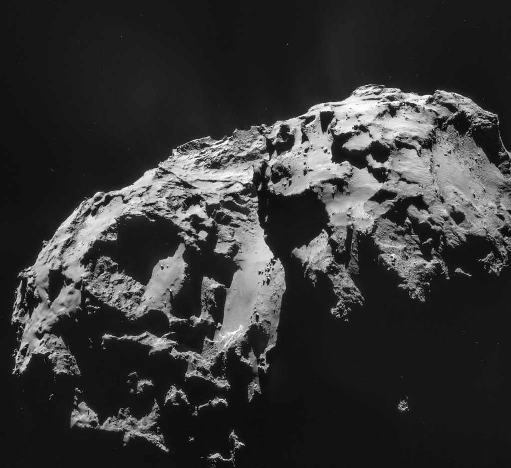 Four image mosaic comprising images taken on 8 January 2015. Rotation and translation of the comet during the imaging sequence make it difficult to create an accurate mosaic, so always refer to the individual images before drawing conclusions about any strange structures or low intensity extended emission. Credits: ESA/Rosetta/NAVCAM – CC BY-SA IGO 3.0