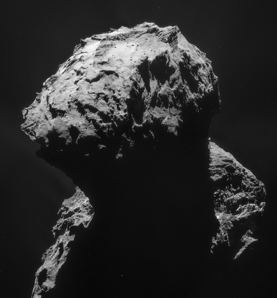 Four image mosaic comprising images taken on 18 January 2015 by Rosetta's Navigation Camera (NAVCAM). Rotation and translation of the comet during the imaging sequence make it difficult to create an accurate mosaic, and there may be some spurious spatial and intensity features as a result of the mosaic-making sequence, so always refer to the individual frames before performing any detailed comparison or drawing conclusions about any strange structures or low intensity extended emission. Credits: ESA/Rosetta/NAVCAM – CC BY-SA IGO 3.0