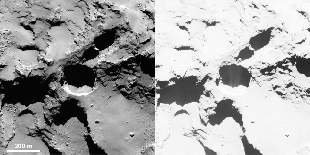 Active pit detected in Seth region of Comet 67P/Churyumov–Gerasimenko. Enhancing the contrast (right) reveals fine structures in the shadow of the pit, interpreted as jet-like features rising from the pit. Credits: ESA/Rosetta/MPS for OSIRIS Team MPS/UPD/LAM/IAA/SSO/INTA/UPM/DASP/IDA