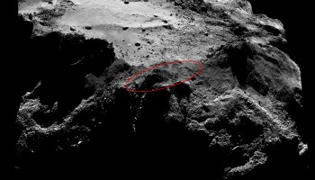 Lander search area. The image is a 2 x 2 mosaic comprising OSIRIS narrow-angle camera images taken on 13 December 2014 from a distance of about 20 km to the centre of the comet.Credits: ESA/Rosetta/MPS for OSIRIS Team MPS/UPD/LAM/IAA/SSO/INTA/UPM/DASP/IDA