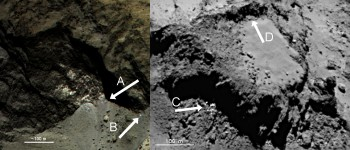 Icy alcoves? A-C point to examples of bright material, while D marks an example of brittle fracturing. Click for more info. Credits: ESA/Rosetta/MPS for OSIRIS Team MPS/UPD/LAM/IAA/SSO/INTA/UPM/DASP/IDA