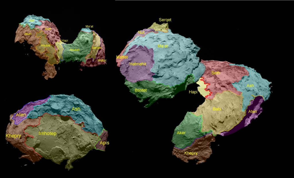 Comet regional maps. Credit: ESA/Rosetta/MPS for OSIRIS Team MPS/UPD/LAM/IAA/SSO/INTA/UPM/DASP/IDA