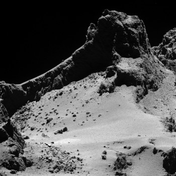 A section of the smaller of Comet 67P/Churyumov–Gerasimenko's two lobes as seen through Rosetta's narrow-angle camera from a distance of about 8 km to the surface on 14 October 2014. The resolution is 15 cm/pixel.  Credit: ESA/Rosetta/MPS for OSIRIS Team MPS/UPD/LAM/IAA/SSO/INTA/UPM/DASP/IDA