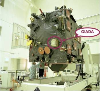 The location of GIADA marked on the Rosetta spacecraft.  Image courtesy Alessandra Rotundi