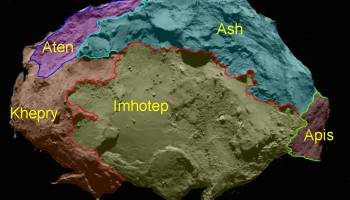 Annotated map of the 'underside' of the comet's large lobe, showing the Imhotep region. Credit: ESA/Rosetta/MPS for OSIRIS Team MPS/UPD/LAM/IAA/SSO/INTA/UPM/DASP/IDA