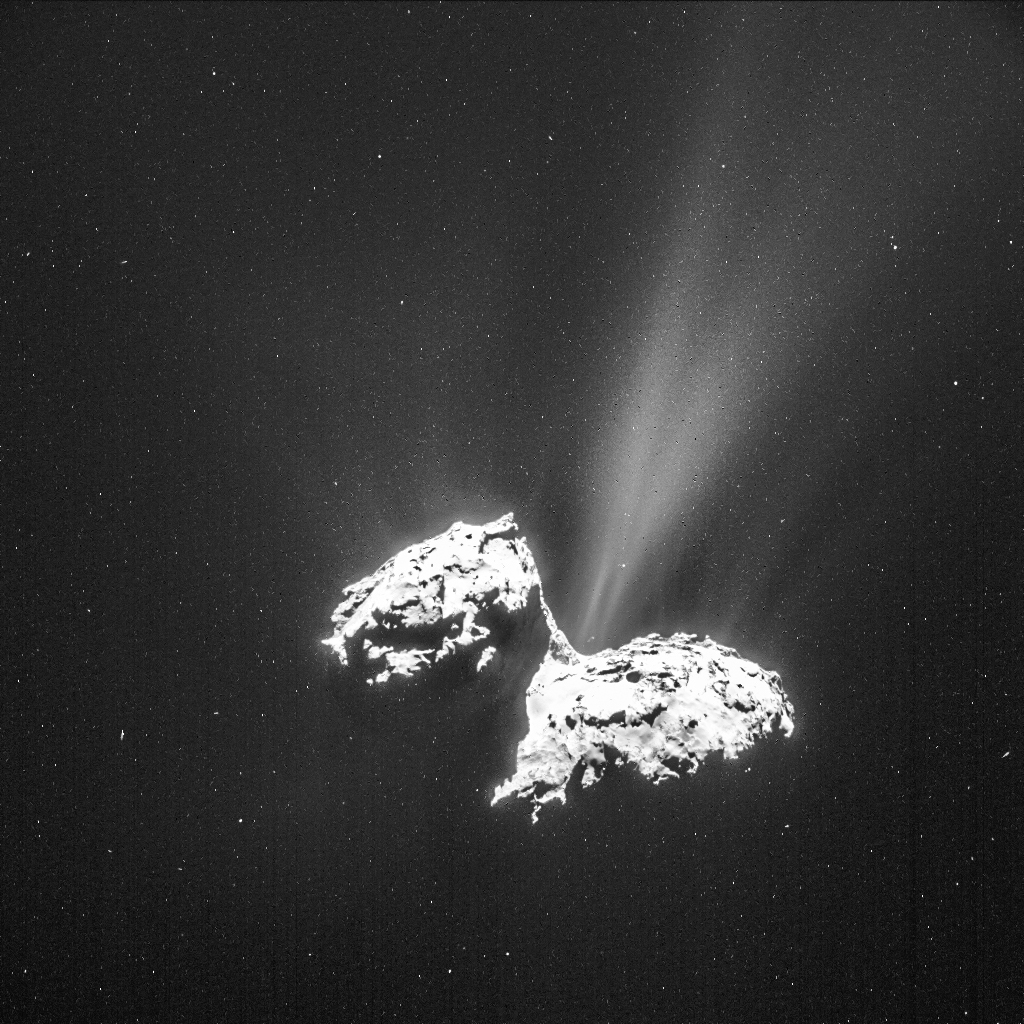 NAVCAM image of Comet 67P/C-G taken on 6 February from a distance of 124 km to the comet centre. In this orientation, the small comet lobe is to the left of the image and the large lobe is to the right. The image has been processed to bring out the details of the comet's activity. The exposure time of the image is 6 seconds. ESA/Rosetta/NAVCAM – CC BY-SA IGO 3.0