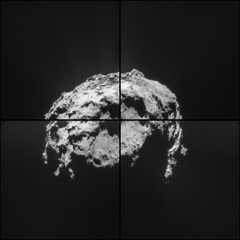 Four image montage of Comet 67P/Churyumov-Gerasimenko comprising images taken on 14 February 2015 at 04:32 GMT from a distance of 35.0 km. The image scale is 3.0 m/pixel and each frame measures 3.0 km across. The view focuses Hatmehit, the large depression on the comet's small lobe. Credits: ESA/Rosetta/NAVCAM – CC BY-SA IGO 3.0