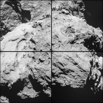 Four image montage of Comet 67P/Churyumov-Gerasimenko comprising images taken on 14 February 2015 at 10:15 GMT from a distance of 12.6 km from the comet centre (about 10.6 km from the surface).  For the comet centre distance, the image scale is 1.1 m/pixel and each frame measures 1.1 km across. In this orientation the view is across the 'back' of the large comet lobe, with the 'neck' and the small comet lobe towards the top of the image. Credits: ESA/Rosetta/NAVCAM – CC BY-SA IGO 3.0