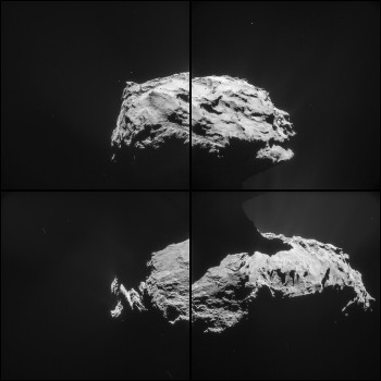 Four image montage of Comet 67P/Churyumov-Gerasimenko comprising images taken on 14 February 2015 at 19:42 GMT from a distance of 31.6 km form the comet centre. The image scale is 2.7 m/pixel and each frame measures 2.8 km across. Rosetta's parting shot following the close flyby features the comet's small lobe at the top of the image, with the larger lobe in the lower portion of the image set. Credits: ESA/Rosetta/NAVCAM – CC BY-SA IGO 3.0