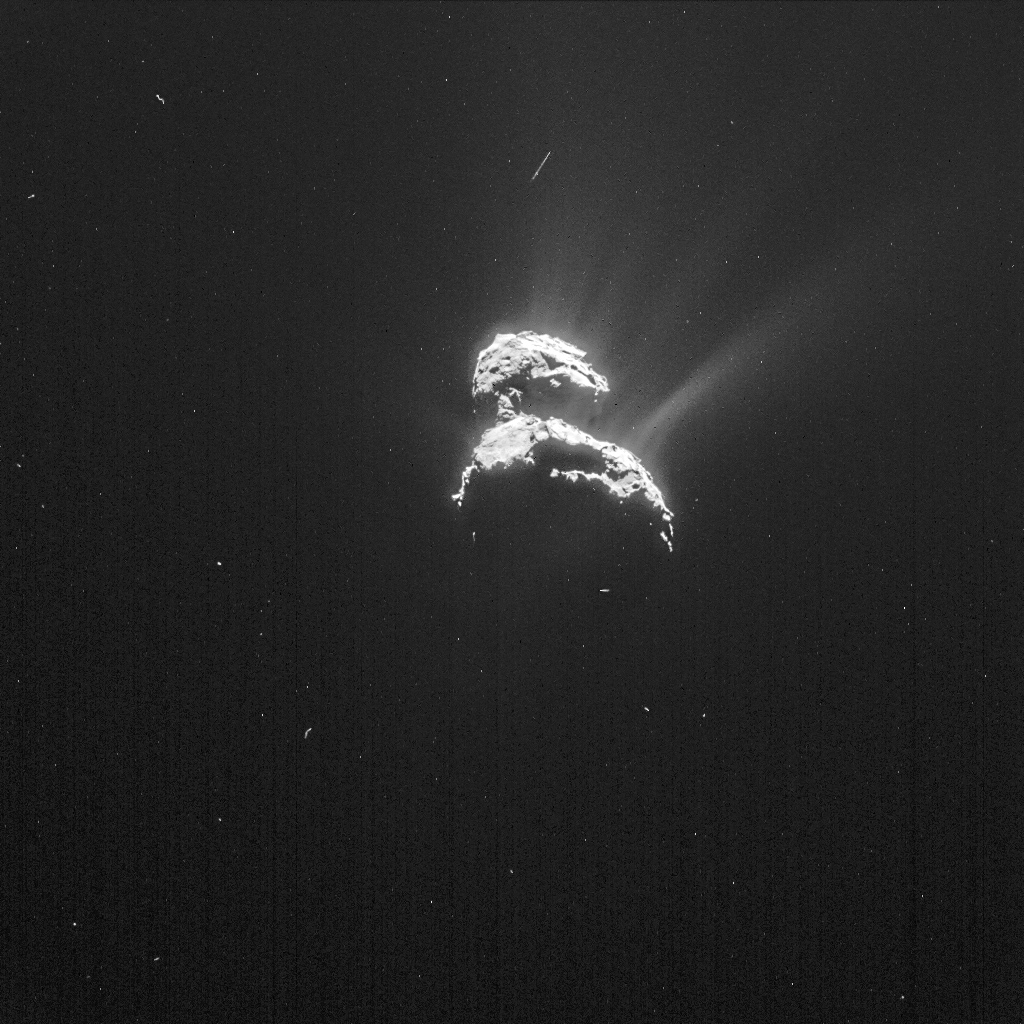 NAVCAM image of Comet 67P/C-G taken on 18 February from a distance of 198 km to the comet centre. The image has been processed to bring out the details of the comet's activity. Credits: ESA/Rosetta/NAVCAM – CC BY-SA IGO 3.0