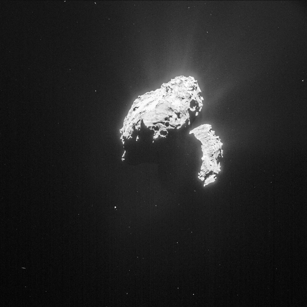 Single frame (1024 x 1024 pixel) NAVCAM image of Comet 67P/C-G taken on 20 February from a distance of 118.5 km to the comet centre. The image has been processed to bring out the details of the comet's activity. The exposure time of the image is 3 seconds. Credits: ESA/Rosetta/NAVCAM – CC BY-SA IGO 3.0