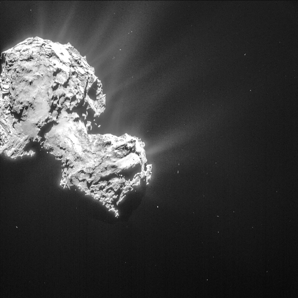 Single frame NAVCAM image of Comet 67P/C-G taken 6 March from a distance of 85.5 km to the comet centre. Credits: ESA/Rosetta/NAVCAM – CC BY-SA IGO 3.0