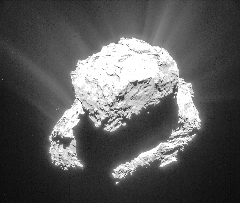 Cropped and processed single frame NAVCAM image of Comet 67P/C-G taken 9 March from a distance of 71.9 km to the comet centre. Credits: ESA/Rosetta/NAVCAM – CC BY-SA IGO 3.0