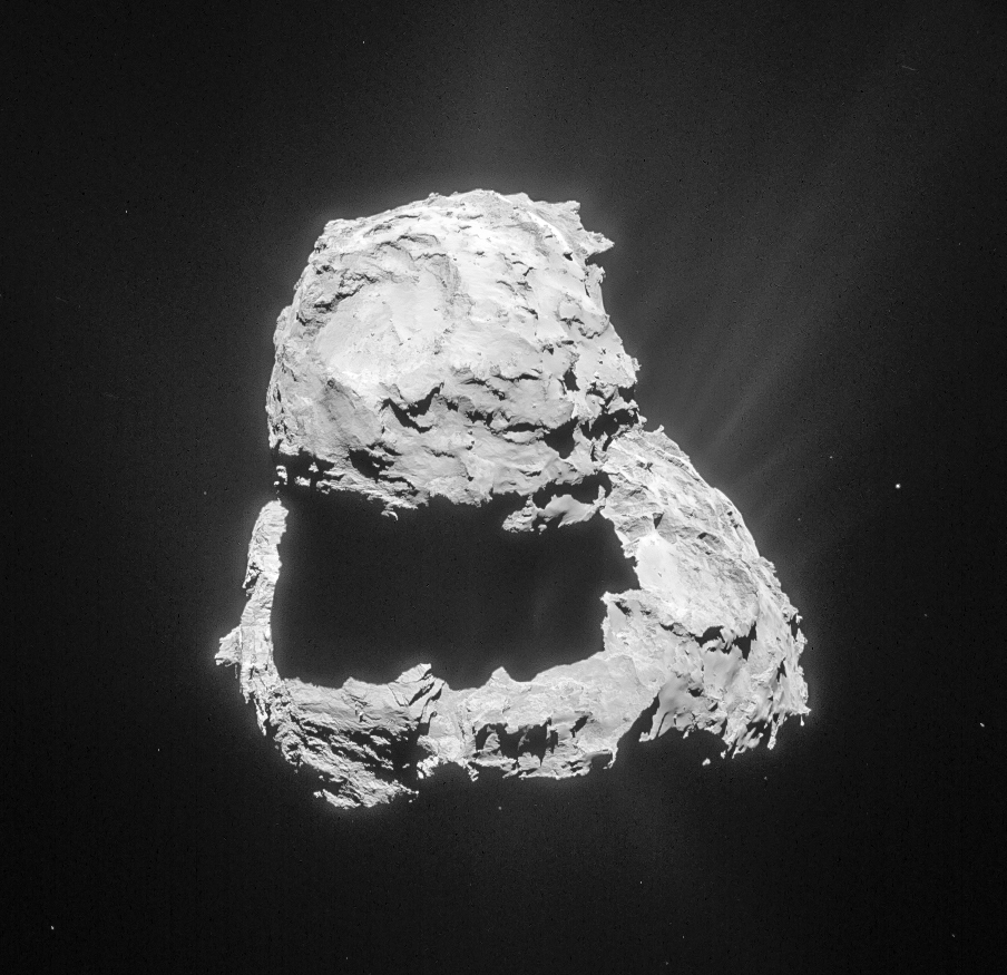 Cropped and processed single frame NAVCAM image of Comet 67P/C-G taken on 18 March 2014 from a distance of 81.4 km to the comet centre. Credits: ESA/Rosetta/NAVCAM – CC BY-SA IGO 3.0