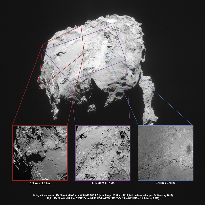 CometWatch 20 March with the 14 February flyby images added as insets. From left to right, these individual images can be downloaded here, here, and here, respectively. The image outlines vary in shape due to the change in relative position of the comet and spacecraft on the times/dates the images were taken.