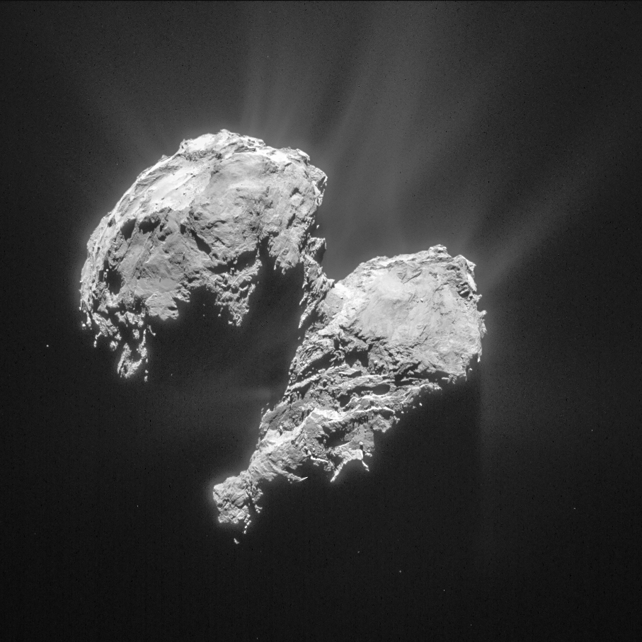 Cropped and processed single frame NAVCAM image of Comet 67P/C-G taken on 22 March 2015 from a distance of 77.8 km to the comet centre. The processed image is cropped and measures 6 x 6 km. Credits: ESA/Rosetta/NAVCAM – CC BY-SA IGO 3.0