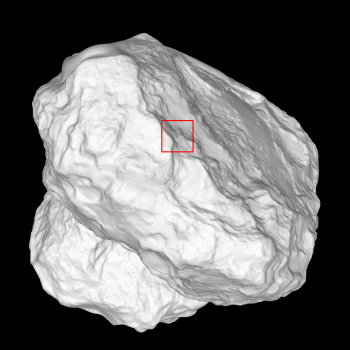 This OSIRIS shape model is marked with the position of the narrow-angle camera field of view taken during the 14 February flyby. Credits: ESA/Rosetta/MPS for OSIRIS Team MPS/UPD/LAM/IAA/SSO/INTA/UPM/DASP/IDA