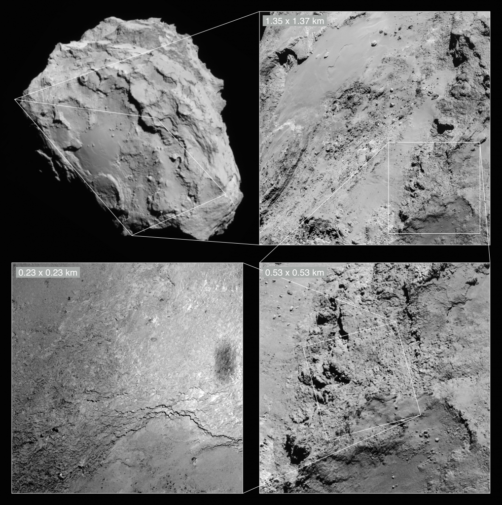 The OSIRIS narrow-angle camera image from the close flyby shown here in context with a NAVCAM image. Credits: NAVCAM: ESA/Rosetta/NAVCAM – CC BY-SA IGO 3.0; OSIRIS: ESA/Rosetta/MPS for OSIRIS Team MPS/UPD/LAM/IAA/SSO/INTA/UPM/DASP/IDA