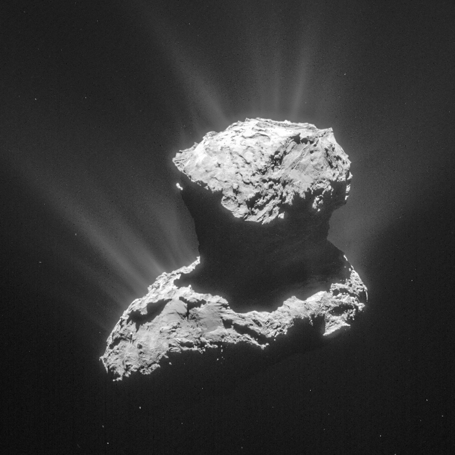Comet 67P/C-G on 25 March. The image is processed to bring out details of the comet activity and is cropped to measure 6.9 km across. Credits: ESA/Rosetta/NAVCAM – CC BY-SA IGO 3.0