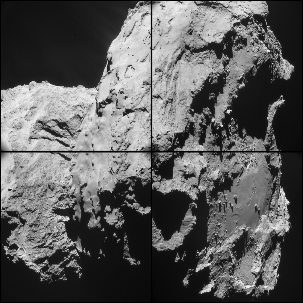 Four image montage of images taken by Rosetta's NAVCAM from an average distance of 20.2 km from the comet centre. The scale at this distance is 1.7 m/pixel and the size of each 1024 x 1024 pixel frame is 1.8 km. Credits: ESA/Rosetta/NAVCAM – CC BY-SA IGO 3.0