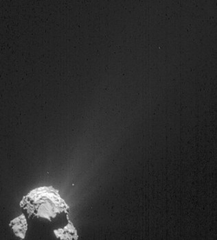 This image was taken by Rosetta's NAVCAM at about 385 km from the comet centre and shows the comet's dust streaming out into space. The image measures 34 km across. Credits: ESA/Rosetta/NAVCAM – CC BY-SA IGO 3.0