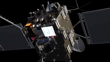 Rosetta's star trackers are marked here in red (above Philae in this pre-seperation artist impression). Part of the high gain antenna can be seen in the background. Image credit: ESA/ATG medialab.