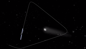 "An example of 'pyramid' trajectories close to the comet. (Note this is a screen shot taken from our 2014 animation ""Rosetta's orbit around the comet"")"