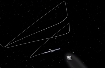 Visualistion of Rosetta's approach to the comet in August 2014. Click for animation. Credits: ESA.