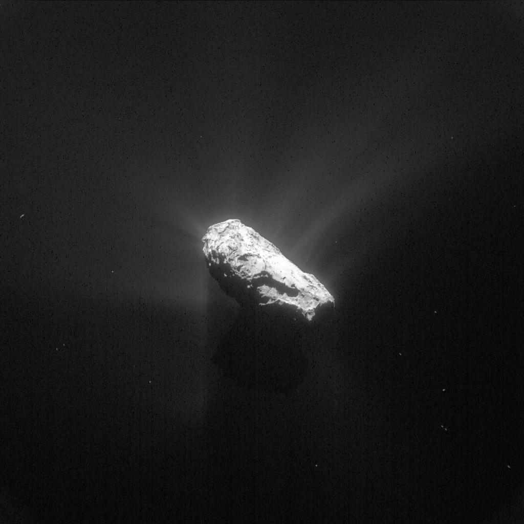 This processed version of the 12 May 2015 image reveals the comet's small lobe in silhouette, along with details of the comet activity. Credits: ESA/Rosetta/NavCam – CC BY-SA IGO 3.0