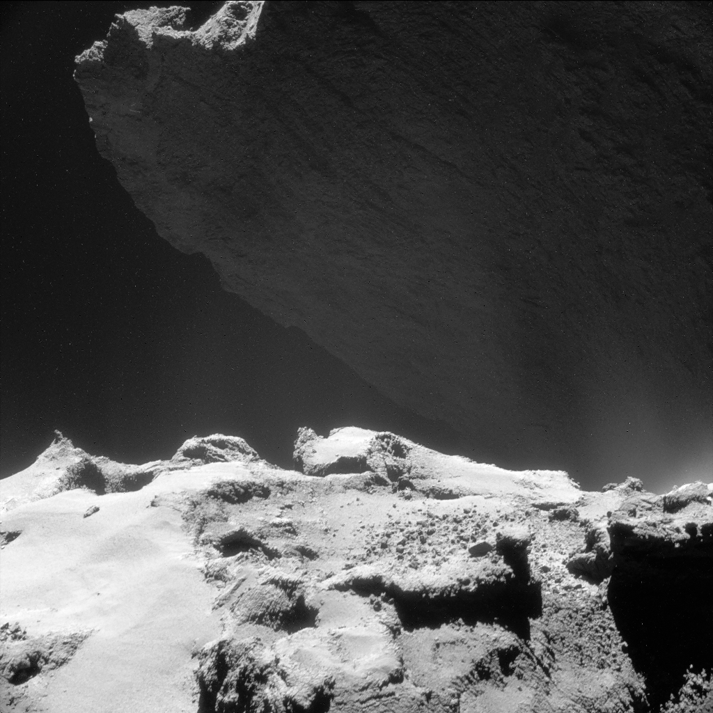 Single frame, processed NAVCAM image of Comet 67P/C-G taken on 23 October from a distance of 9.8 km to the comet centre. Credits: ESA/Rosetta/NAVCAM – CC BY-SA IGO 3.0