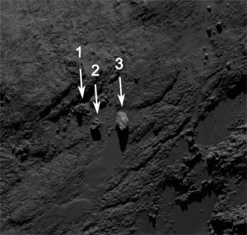 Image of the boulders taken by OSIRIS on 19 September 2014 from a distance of about of 29 km. The image scale at this distance is 54 cm/pixel and the image measures about 308 m across. Boulder 3 measures approximately 30 m across. Credits: ESA/Rosetta/MPS for OSIRIS Team MPS/UPD/LAM/IAA/SSO/INTA/UPM/DASP/IDA