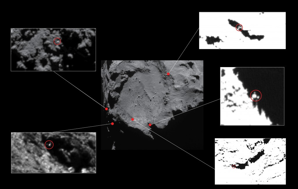 Approximate locations of five lander candidates initially identified in high-resolution OSIRIS Narrow Angle Camera images taken in December 2014, from a distance of about 20 km from the centre of Comet 67P/C-G. The candidates are circled in the close-ups, identifying Philae-sized features approximately 1–2 m across. The contrast has been stretched in some of the images to better reveal the candidates. All but one of these candidates (top left) have subsequently been ruled out of consideration due to constraints including the reconstructed lander trajectory and topography at the landing site. The candidate at top left lies near to the current CONSERT ellipse.  Credits: Centre image: ESA/Rosetta/NAVCAM – CC BY-SA IGO 3.0; insets: ESA/Rosetta/MPS for OSIRIS Team MPS/UPD/LAM/IAA/SSO/INTA/UPM/DASP/IDA Editor's note: This image has been updated due to an error in the previous version.