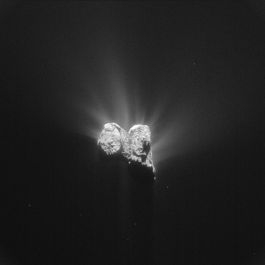 Comet 67P/C-G on 1 June. The image has been processed to highlight the comet's activity. Credits: ESA/Rosetta/NAVCAM – CC BY-SA IGO 3.0