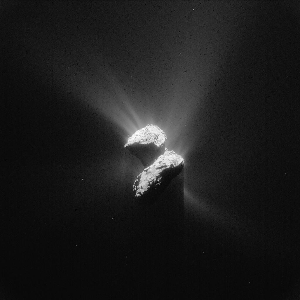 Processed NAVCAM image of Comet 67P/C-G taken on 5 June 2015. Credits: ESA/Rosetta/NAVCAM – CC BY-SA IGO 3.0