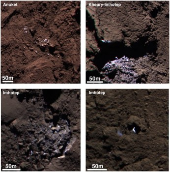 Examples of icy bright patches seen on Comet 67P/Churyumov-Gerasimenko during September 2014. The two left hand images are subsets of OSIRIS narrow-angle camera images acquired on 5 September; the right hand images were acquired on 16 September. During this time the spacecraft was about 30-40 km from the comet centre. The images are false colour red-green-blue composites assembled from monochrome images acquired at different times with the 882.1nm (red), 649.2nm (green) and 360.0nm (blue) channels. Each channel was stretched and slightly saturated to emphasis the contrasts of colour across the scene such that dark terrains appear redder and bright regions appear significantly bluer compared with what a human eye would normally see. While various ices mixed with dust would be consistent with the blue signature, taken with other observations, the various properties of the bright patches point to water-ice. Credits: ESA/Rosetta/MPS for OSIRIS Team MPS/UPD/LAM/IAA/SSO/INTA/UPM/DASP/IDA