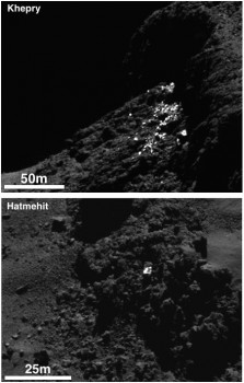 Example of a cluster of bright spots on Comet 67P/Churyumov-Gerasimenko found in the Khepry region (top) and an individual boulder with bright patches on its surface in the Hatmehit region (bottom). The bright patches are thought to be exposures of water-ice.  Both images shown here are subsets of OSIRIS narrow-angle camera images taken on 30 September, when the spacecraft was about 20 km from the comet centre. Credits: ESA/Rosetta/MPS for OSIRIS Team MPS/UPD/LAM/IAA/SSO/INTA/UPM/DASP/IDA