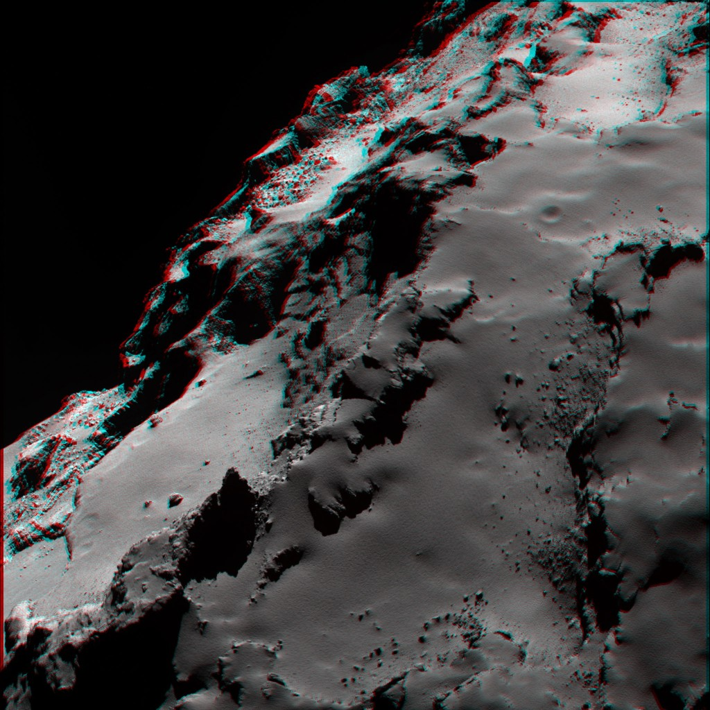 OSIRIS narrow-angle camera image showing the smooth nature of the dust covering the Ash region and highlighting the contrast with the more brittle material exposed underneath in Seth.  Credits: ESA/Rosetta/MPS for OSIRIS Team MPS/UPD/LAM/IAA/SSO/INTA/UPM/DASP/IDA