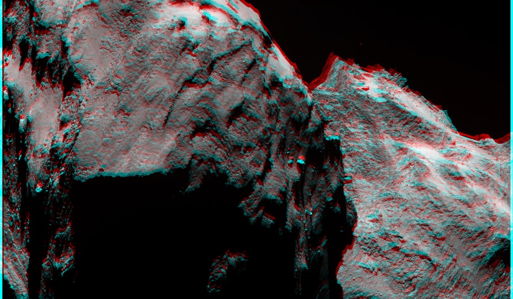 OSIRIS narrow-angle camera mosaic of two images showing an oblique view of the Atum region and its contact with Apis, the flat region in the foreground. This region is rough and pitted, with very few boulders.  Credits: ESA/Rosetta/MPS for OSIRIS Team MPS/UPD/LAM/IAA/SSO/INTA/UPM/DASP/IDA